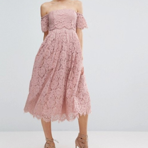 Asos dusty rose pink off the shoulder lace dress 4ffbffa3e